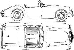 MGA Line Drawing - MGA Tailor-Made Indoor Car Cover - Classic Spares