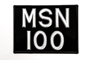 """3 ½"""" Silver Raised Digit Square Number Plate - Classic Spares"""