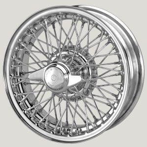 """4½"""" x 14"""" 60 Spoke Chrome Wire Wheel - Classic Spares"""