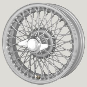 "4½"" x 15"" 72 Spoke Silver Painted Wire Wheel - Classic Spares"