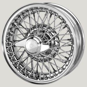 """4"""" x 13"""" 60 Spoke Chrome Wire Wheel - Classic Spares"""