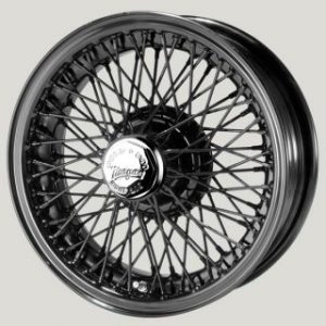 "5"" x 15"" 72 Spoke Black Painted Wire Wheel - Classic Spares"