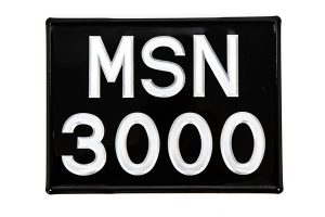 """3 ⅛"""" Silver Raised Digit Square Number Plate - Classic Spares"""
