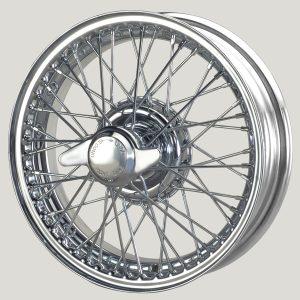 """4"""" x 15"""" 48 Spoke Chrome Wire Wheel - Classic Spares"""