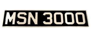 "3 ⅛"" Digit Embossed Number Plate With Border - Classic Spares"