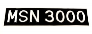 """3 ⅛"""" Silver Raised Digit Number Plate With Border - Classic Spares"""