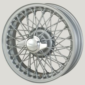 "4½"" x 14"" 60 Spoke Silver Painted Wire Wheel - Classic Spares"