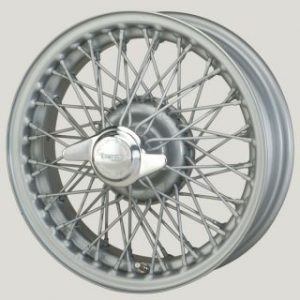 "4½"" x 15"" 60 Spoke Silver Painted Wire Wheel - Classic Spares"