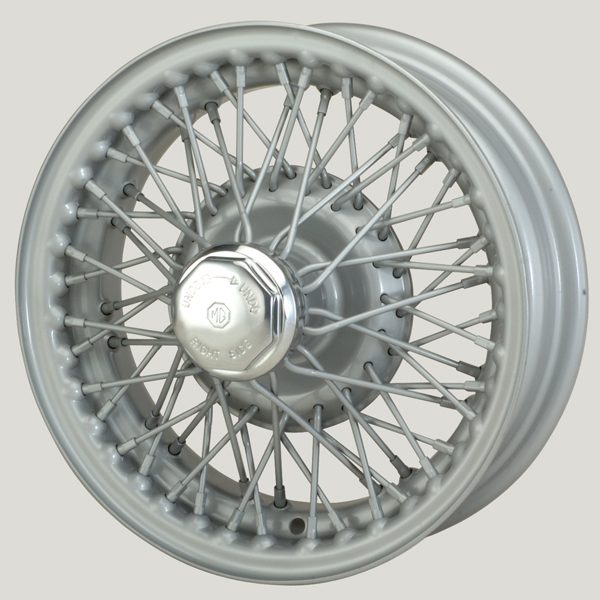 """4"""" x 13"""" 60 Spoke Silver Painted Wire Wheel - Classic Spares"""