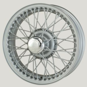 "4"" x 15"" 48 Spoke Silver Painted Wire Wheel - Classic Spares"
