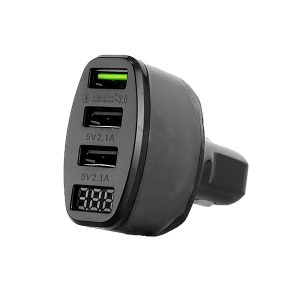 Durite Fast Charge 3 x USBs Car Charger With Voltmeter - 12/2